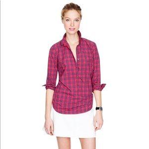 JCREW Red Tartan Popover Plaid Pullover Shirt S 2